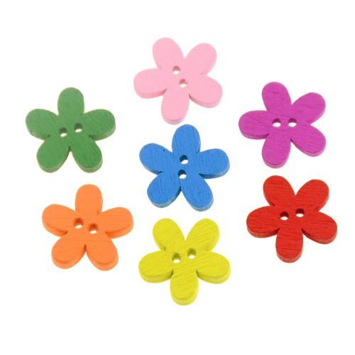 Деревянные пуговицы Цветочек ассорти, 10 штук