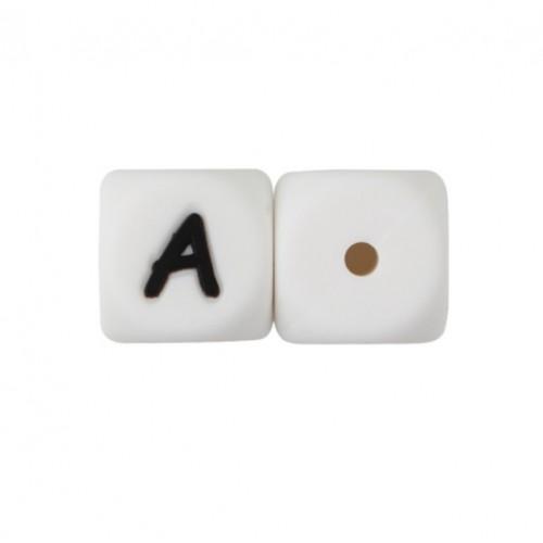 Силиконовая бусина куб с буквой А, фото