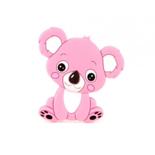 Силиконовый грызунок коала розовый