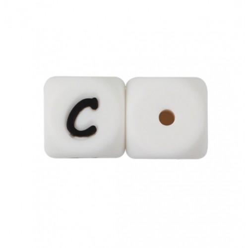Силиконовая бусина куб с буквой C, фото