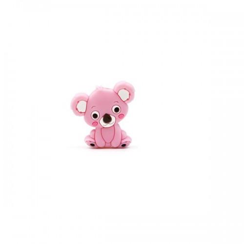 Силиконовая бусина мини коала розовая