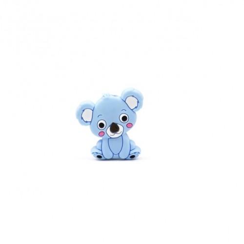 Силиконовая бусина мини коала голубая