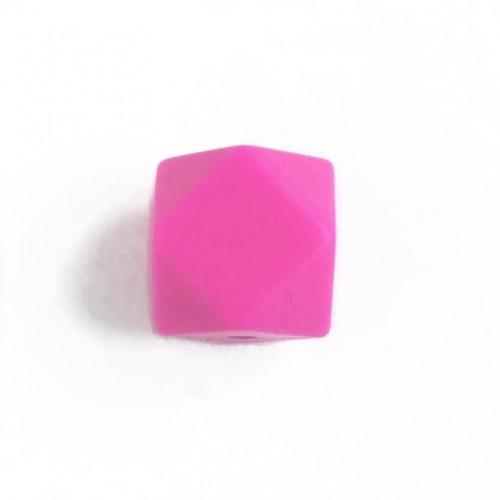 Силиконовая бусина мини гексагон малиновый, 14 мм
