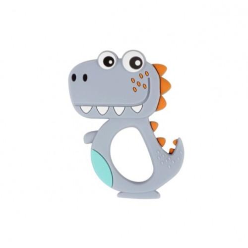 Силиконовый грызунок Динозавр серый