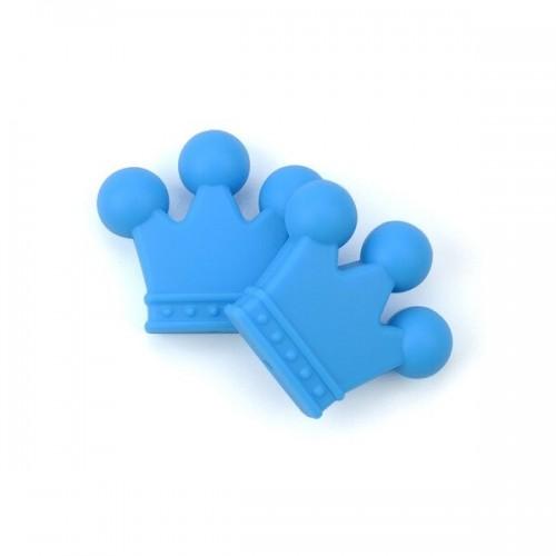 Силиконовая бусина Корона синяя, 30х30 мм