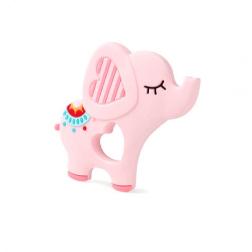Силиконовый грызунок Слон розовый
