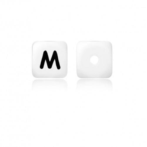 Силиконовая бусина куб с буквой M