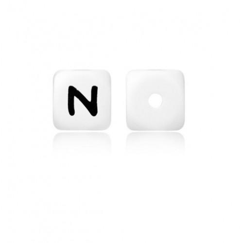 Силиконовая бусина куб с буквой N