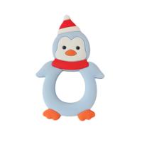 Силиконовый грызунок пингвин новогодний голубой
