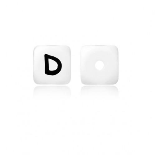 Силиконовая бусина куб с буквой D