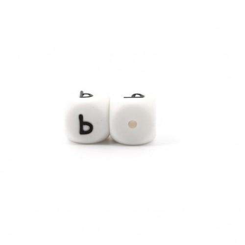 Силиконовая бусина куб с буквой Ь