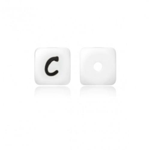 Силиконовая бусина куб с буквой C