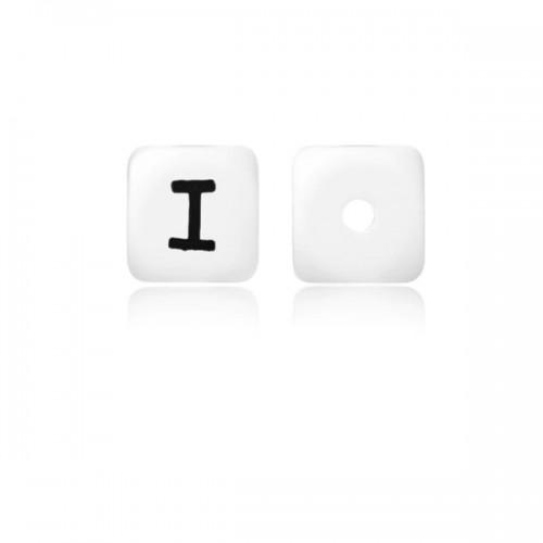 Силиконовая бусина куб с буквой I
