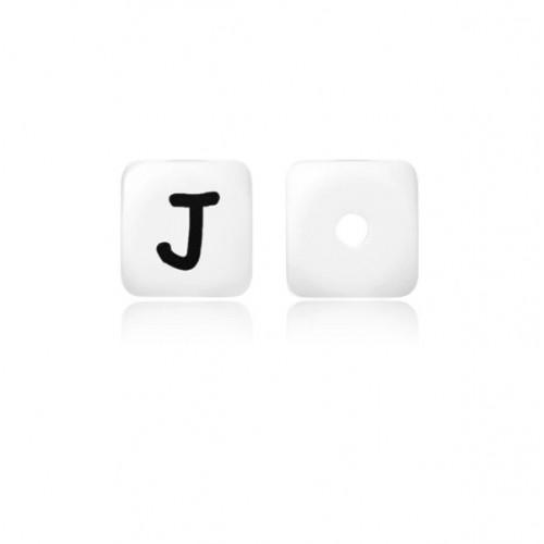 Силиконовая бусина куб с буквой J