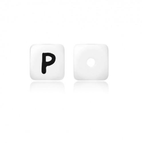 Силиконовая бусина куб с буквой P