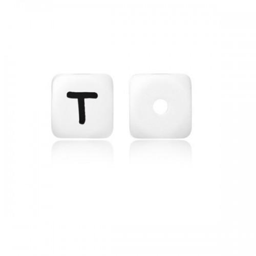 Силиконовая бусина куб с буквой T