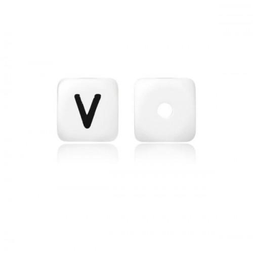 Силиконовая бусина куб с буквой V