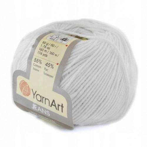 Нитки для вязания 62 Jeans  белоснежный Yarn Art, фото