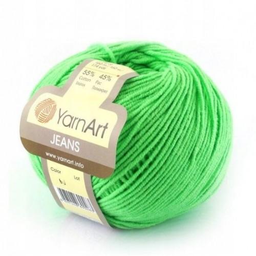 Нитки для вязания 60 Jeans ярко-салатовый Yarn Art, фото