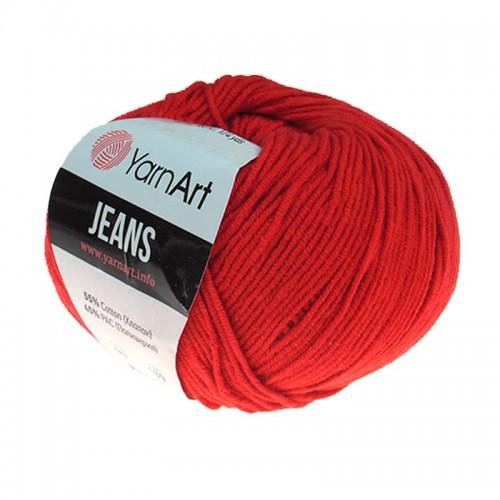 Нитки для вязания 90 Jeans  красный  Yarn Art, фото