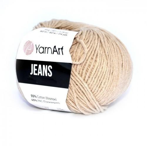 Нитки для вязания YarnArt Jeans, тёмно бежевый №48