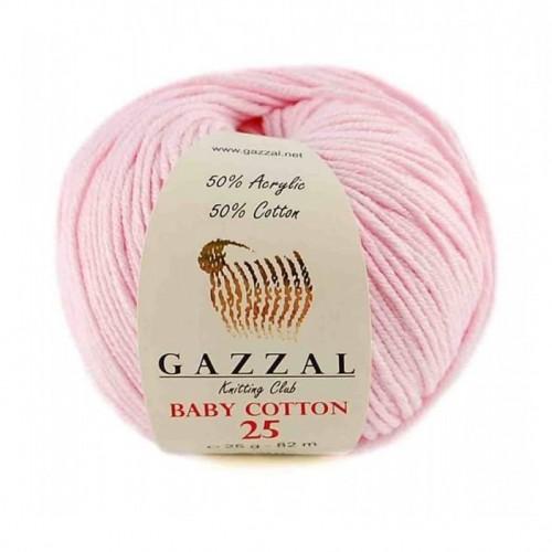 Нитки для вязания Gazzal Baby Cotton-25, Розовый №3411