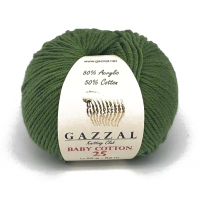 Нитки для вязания Gazzal Baby Cotton-25, Трава №3449