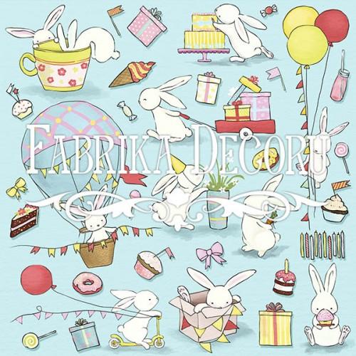 """купить лист с картинками для вырезания """"Bunny birthday party"""" Фабрика Декору"""