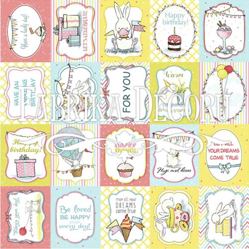 """Набор карточек для декорирования """"Bunny birthday party""""  №2 (eng) Фабрика Декору фото"""