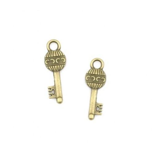 Металлический декор Ключ №12 Бронза 3х0.7 см фото