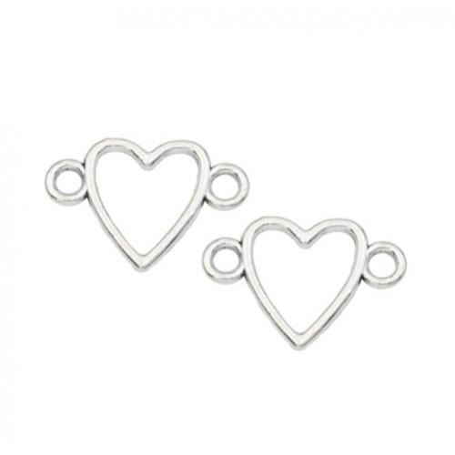 Металлический декор Сердце №11 Серебро 1.5х2.3 см фото