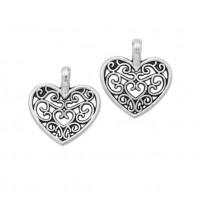 Металлический декор Сердце №6 Серебро, 1.8х1.3 см