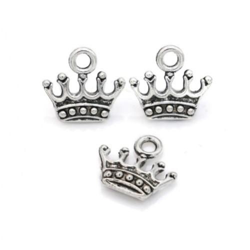 Металлический декор Корона №2 Серебро 13х13 мм фото