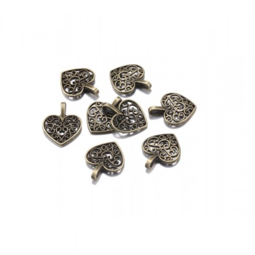 Металлический декор Сердце №6 Бронза, 1.8х1.3 см