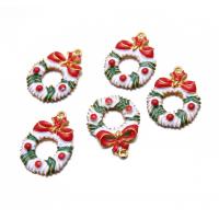 Металлический декор Рождественский венок, 50х30 мм