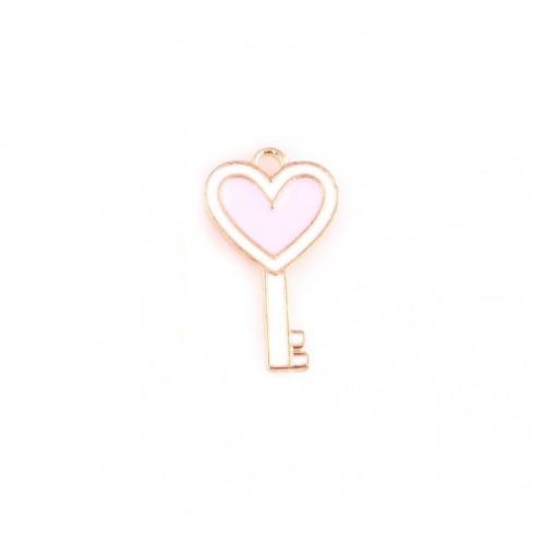 Металлический декор ключик розовый, 13х23 мм