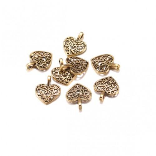 Металлический декор Сердце №6 Золото, 1.8х1.3 см