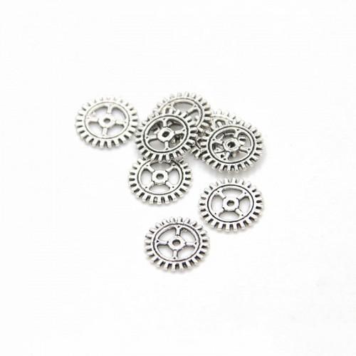 Металлический декор Шестеренка №7 Серебро, 12 мм