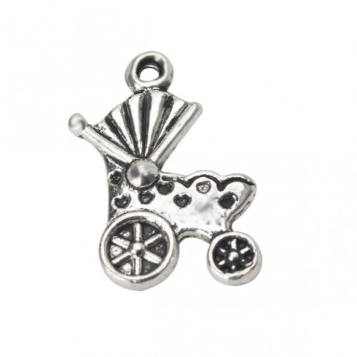 Металлический декор Детская коляска №2 Серебро, 1.9х1.4 см