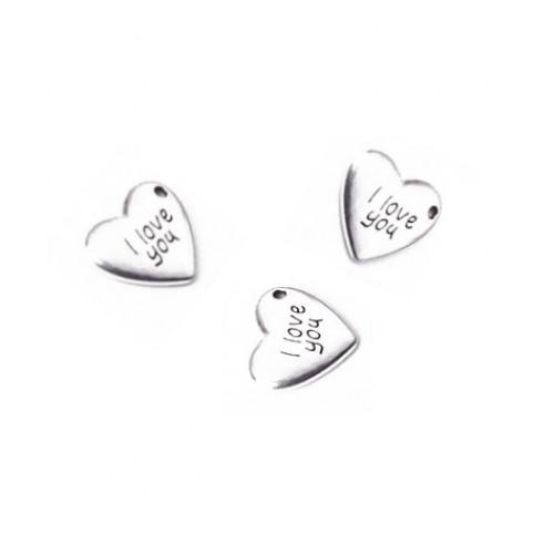 Металлический декор Сердце №27 Серебро 1.8х1.5см фото