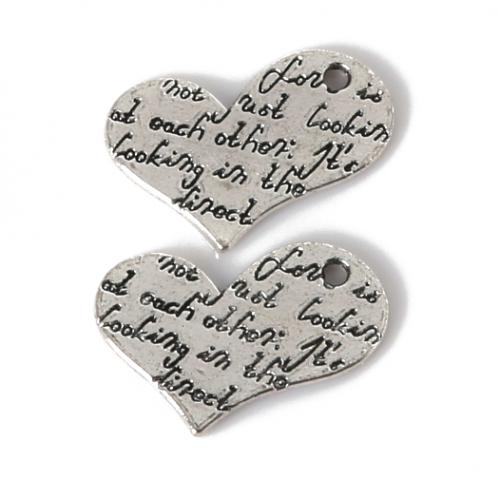 Металлический декор Сердце №24 Серебро 2х1.5 см фото