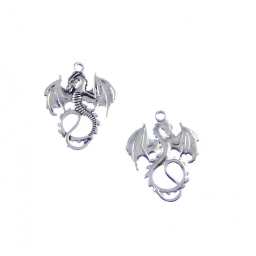 Металлический декор Дракон Серебро 1.5х2 см фото