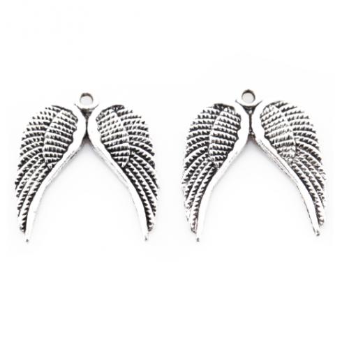 Металлический декор Крылья №14 Серебро 18х20 мм фото