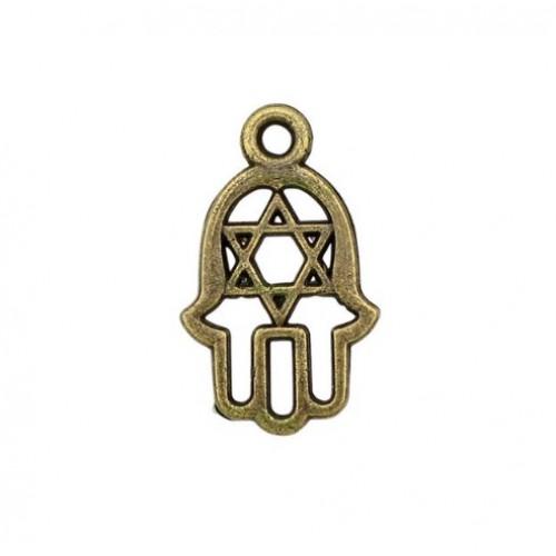 Металлический декор Ладонь Звезда Давида Бронза 2x1.2 см фото
