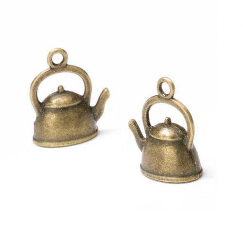 Металлический декор Чайник бронза 15х20 мм фото