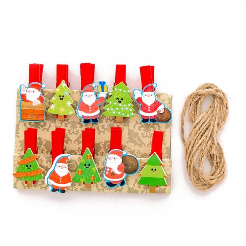 Набор прищепок декоративных Новогодние елочки и Санта Клаус, фото