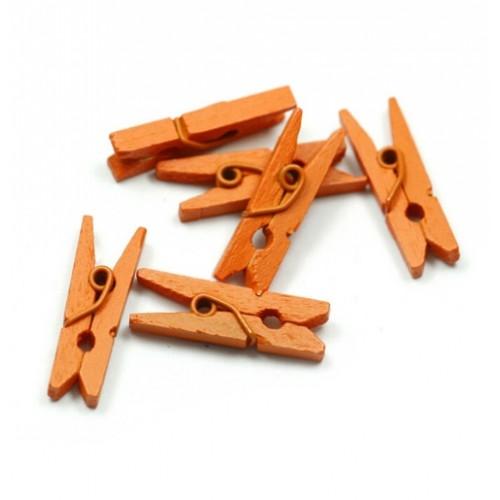 Прищепка деревянная Оранжевая 3.5 см фото