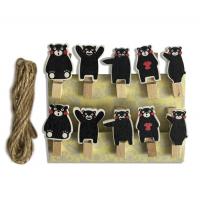 Набор прищепок декоративных Черные медвежата, 10 шт