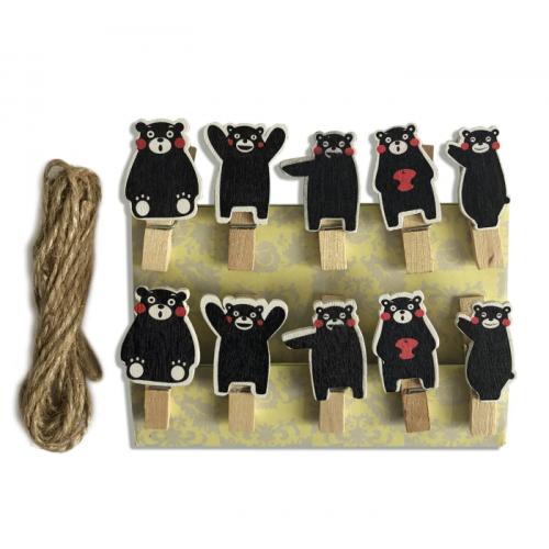 Набор прищепок декоративных Черные медвежата, фото