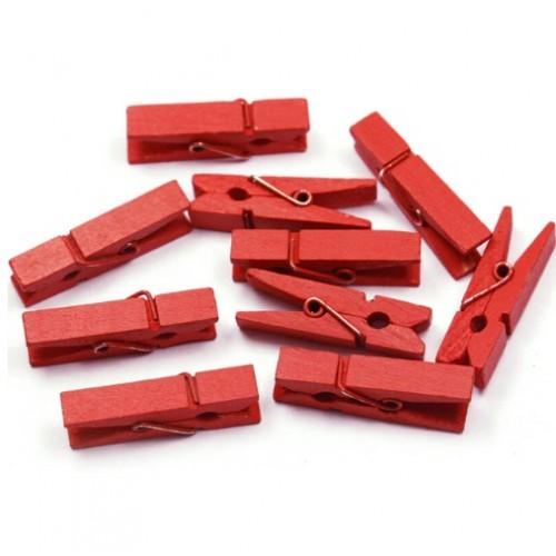 Прищепка деревянная Красная 3.5 см фото